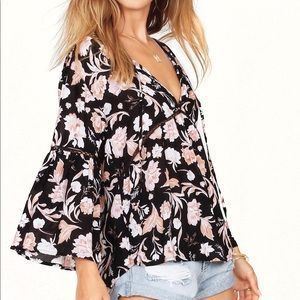 NWT Amuse Society Floral Black Long Sleeve Top